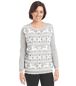 Alfred Dunner® Alpine Lodge Reindeer Fair Isle Sweater