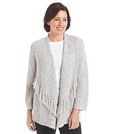 Alfred Dunner® Alpine Lodge Fringe Boucle Cardigan Sweater