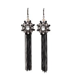 Relativity® Jet Black and Hematite Tone Tassel Drop Earrings
