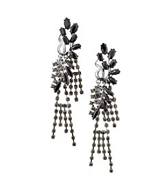 Relativity® Jet Black and Hematite Tone Fringe Earrings