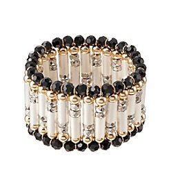 Relativity® Jet Black and Multi-Tone Stretch Bracelet