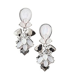 Relativity® Silvertone and Tonal Blush Drop Earrings