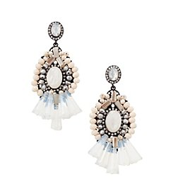 Relativity® Silvertone and Blush Beaded Filigree Drop Earrings