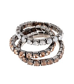 Relativity® Silvertone, Blush and Grey Three Row Stone Stretch Bracelet