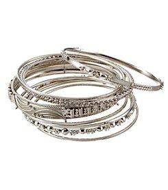 Relativity® Silvertone Eight Piece Bangle Bracelet Set