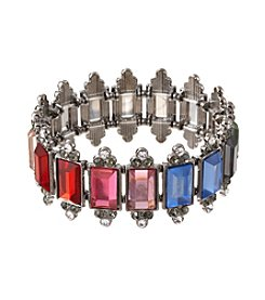 Relativity® Rainbow Stone And Hematite Tone Stretch Bracelet