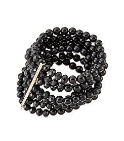 Relativity® Jet And Goldtone  Multi Row Stretch Bracelet