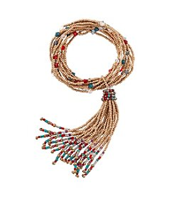 Relativity® Multi Color Bead And Goldtone Tassel Stretch Bracelet
