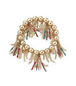 Relativity® Multi Color Bead And Goldtone Fringe Stretch Bracelet