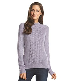Carolyn Taylor&Reg; Buttoned Mock Neck Sweater