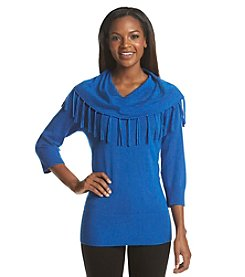 Notations® Solid Fringe Cowlneck Sweater