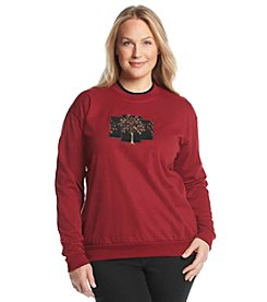 Morning Sun® Plus Size Velvet Winter Tree Fleece Sweatshirt