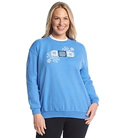 Morning Sun® Plus Size Triple Snowflake Fleece Sweatshirt