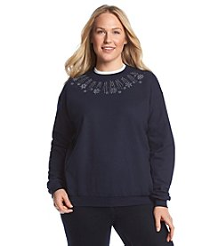 Morning Sun® Plus Size Snow Shine Fleece Sweatshirt