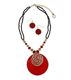 Erica Lyons® Goldtone Red Shell Disk Pendant Necklace and Earrings Set