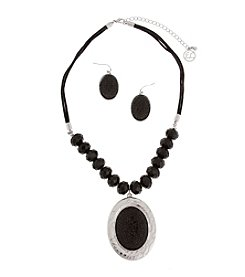 Erica Lyons® Black and Silvertone Oval Pendant Necklace and Earrings Set