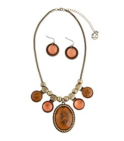 Erica Lyons® Goldtone and Brown Cabochon Fringe Front Necklace and Earrings Set