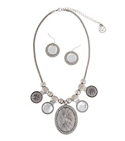 Erica Lyons® Silvertone and Grey Cabochon Fringe Front Necklace and Earrings Set