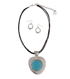 Erica Lyons® Turquoise and Silvertone Pendant Necklace and Earrings Set