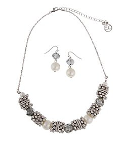 Erica Lyons® Silvertone and Pearl Slide Bead Necklace and Earrings Set