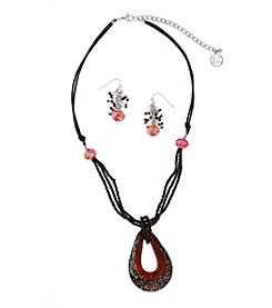 Erica Lyons® Silvertone Red Artisan Glass Teardrop Pendant Necklace and Earrings Set