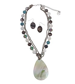 Erica Lyons® Silvertone Green Shell Teardrop Pendant Necklace and Earrings Set