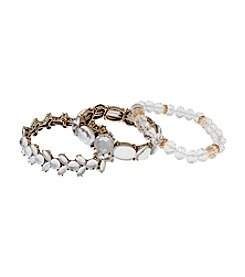Erica Lyons® Goldtone Glass Slipper Three Piece Stretch Bracelet