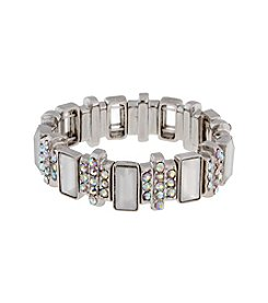 Erica Lyons® Silvertone Icing On The Cake Retro Thin Stretch Bracelet