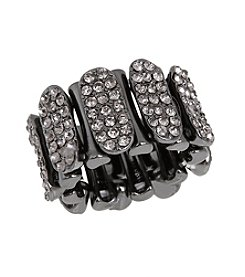 Erica Lyons® Hematite Tone Wide Woven Fashion Stretch Ring