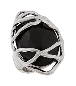 Erica Lyons® Silvertone Oval Caged Stone Fashion Stretch Ring