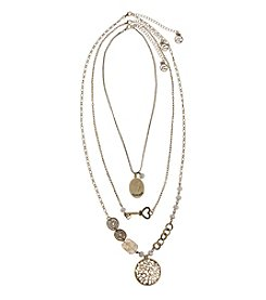Erica Lyons® Goldtone 7 Ways To Wear Happiness, Key and Disk Necklace Set