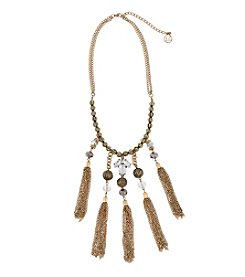 Erica Lyons® Goldtone Glass Slipper 5 Tassel Front Statement Necklace