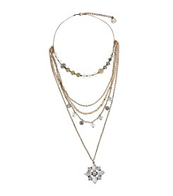Erica Lyons® Goldtone Glass Slipper 3-in-1 Layered Necklace