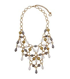Erica Lyons® Goldtone Glass Slipper Retro Beaded Web Front Necklace