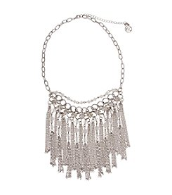 Erica Lyons® Silvertone Icing On The Cake Statement Tassel Fringe Front Necklace