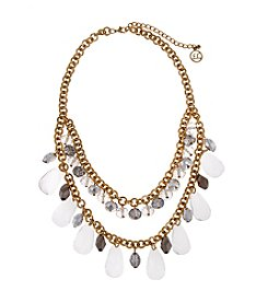 Erica Lyons® Goldtone Glass Slipper Shaky Teardrop Bead Front Necklace