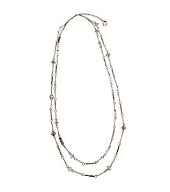 Erica Lyons® Goldtone Glass Slipper Double Chain Long Necklace