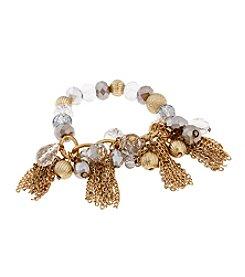 Erica Lyons® Goldtone Glass Slipper Tassel and Beads Stretch Bracelet