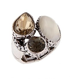 Erica Lyons® Silvertone Cluster of Stones Fashion Stretch Ring