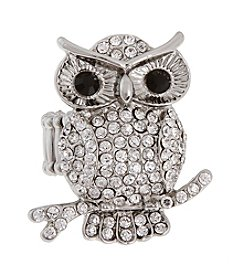 Erica Lyons® Silvertone Silver Owl Fashion Stretch Ring
