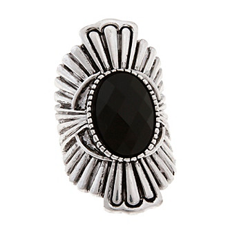Erica Lyons® Silvertone with Oval Stone Stretch Ring