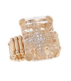 Erica Lyons® Goldtone Large Rectangle Stone Fashion Stretch Ring