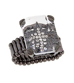 Erica Lyons® Hematite Tone Large Rectangle Stone Fashion Stretch Ring