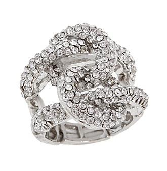 Erica Lyons® Silvertone Interlocking Circle Fashion Stretch Ring