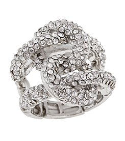 Erica Lyons® Silvertone Interlocking Circle Fashion Stretch Ring