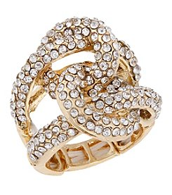 Erica Lyons® Goldtone Interlocking Circle Fashion Stretch Ring