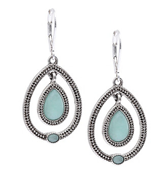 Nine West Vintage America Collection® Antique Silvertone And Seafoam Bead Orbital Drop Earrings