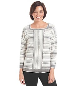Alfred Dunner® Petites' Alpine Lodge Fair Isle Stripe Sweater