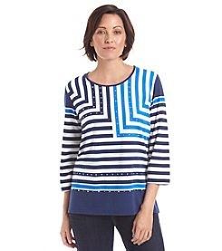 Alfred Dunner® Petites' Cape Hatteras Embellished Stripe Knit Top