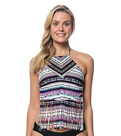 Jessica Simpson High Neck Fringe Tankini Top